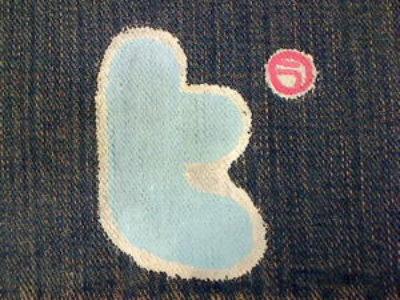 ツイッター(twitter)風マークをジーンズペイントしてみました。